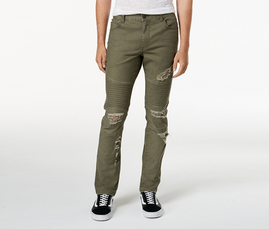 American Rag Men's Denim Distressed Jeans, Olive