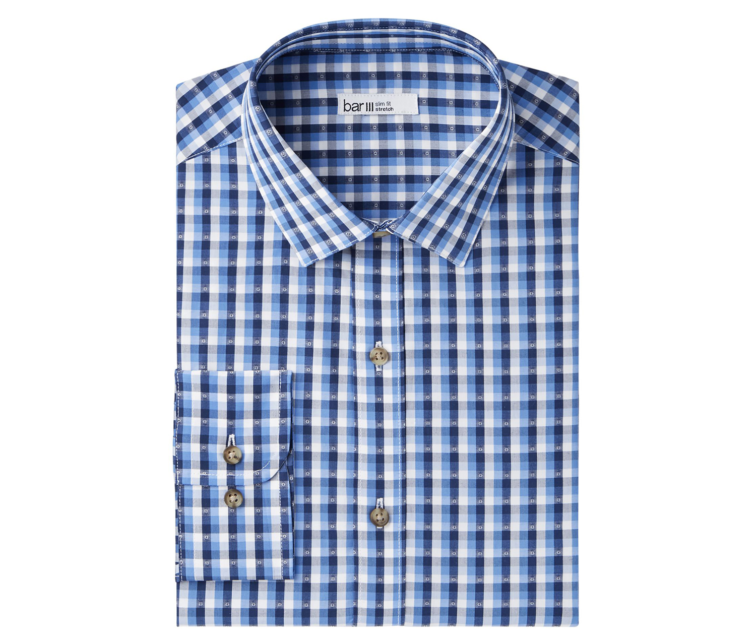 Men's Stretch Easy Care Button Up Dress Shirt, Blue