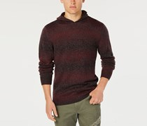 Men's Ombre-Stripe Hooded Sweater, Dark Scarlet
