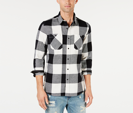 American Rag Cie Men's Casual Shirt, Black/White