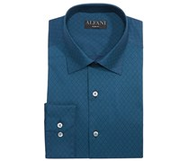 Alfani Men's Slim-Fit Performance Stretch Easy-Care Dress Shirt, Navy/Teal