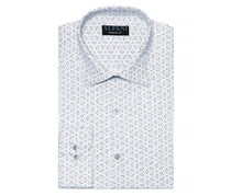 Men's Pattern Athletic Fit Dress Shirt, White/Gray