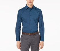 Men's Tech Fitted Printed Dress Shirt, Navy/Teal