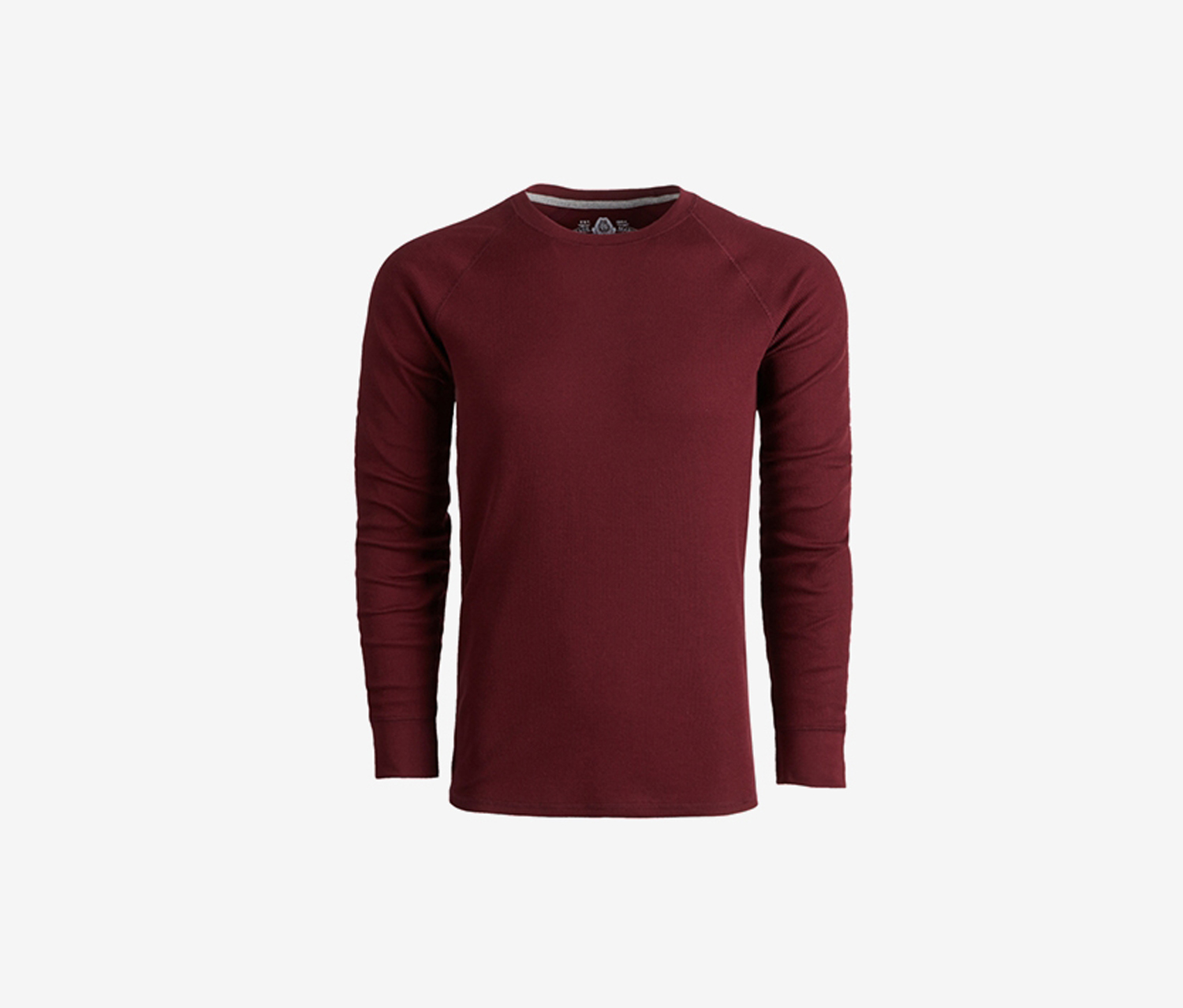 Men's Waffle Knit Long Sleeves Thermal Shirt, Dark Scarlet
