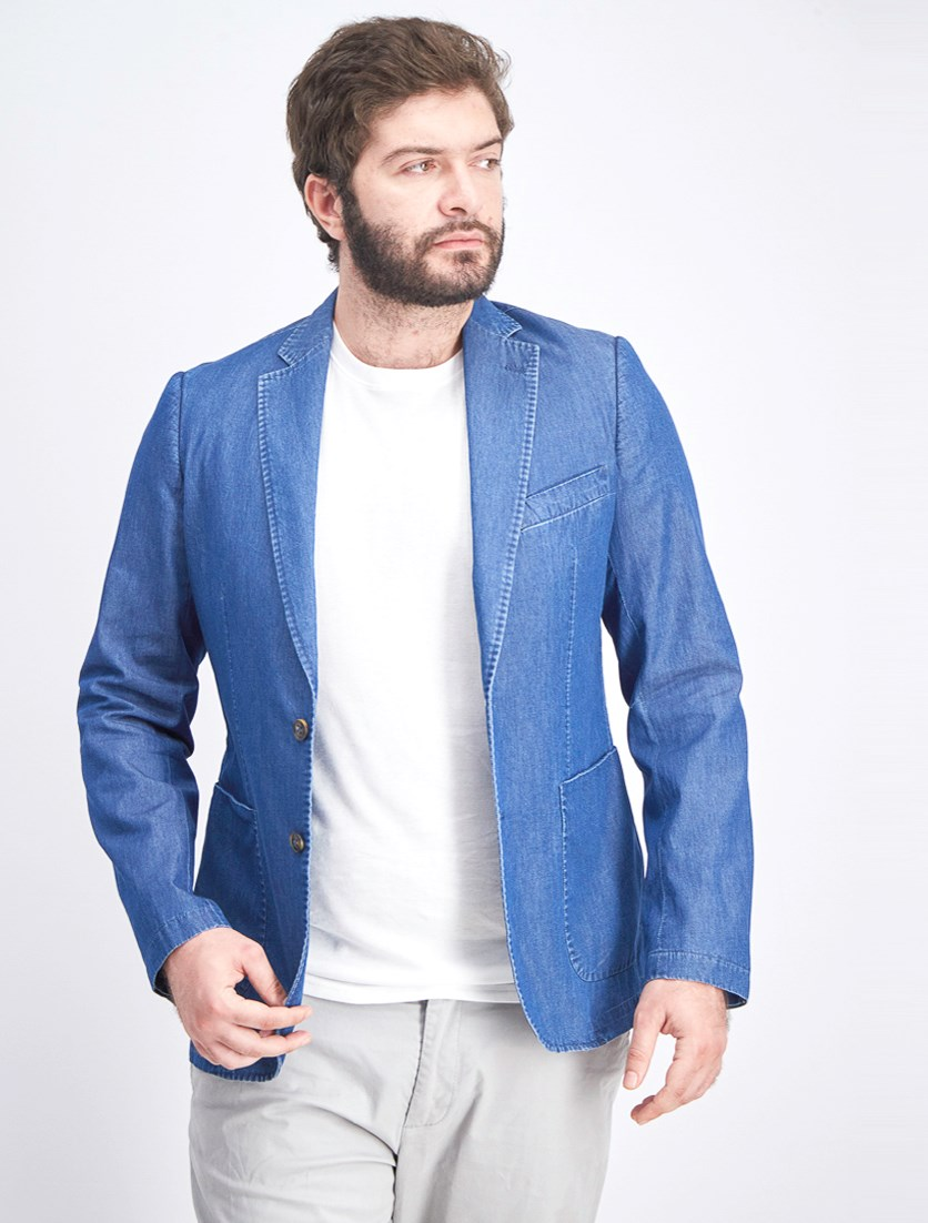 Men's Denim Blazer, Blue