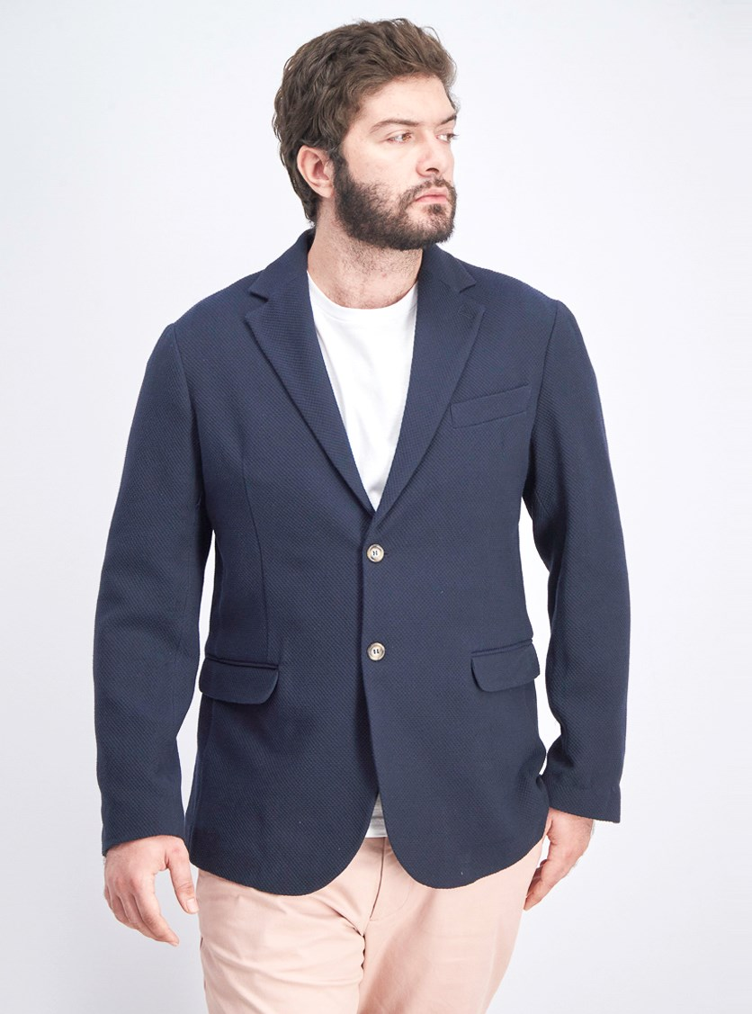 Men's Textured Blazer, Navy Blue