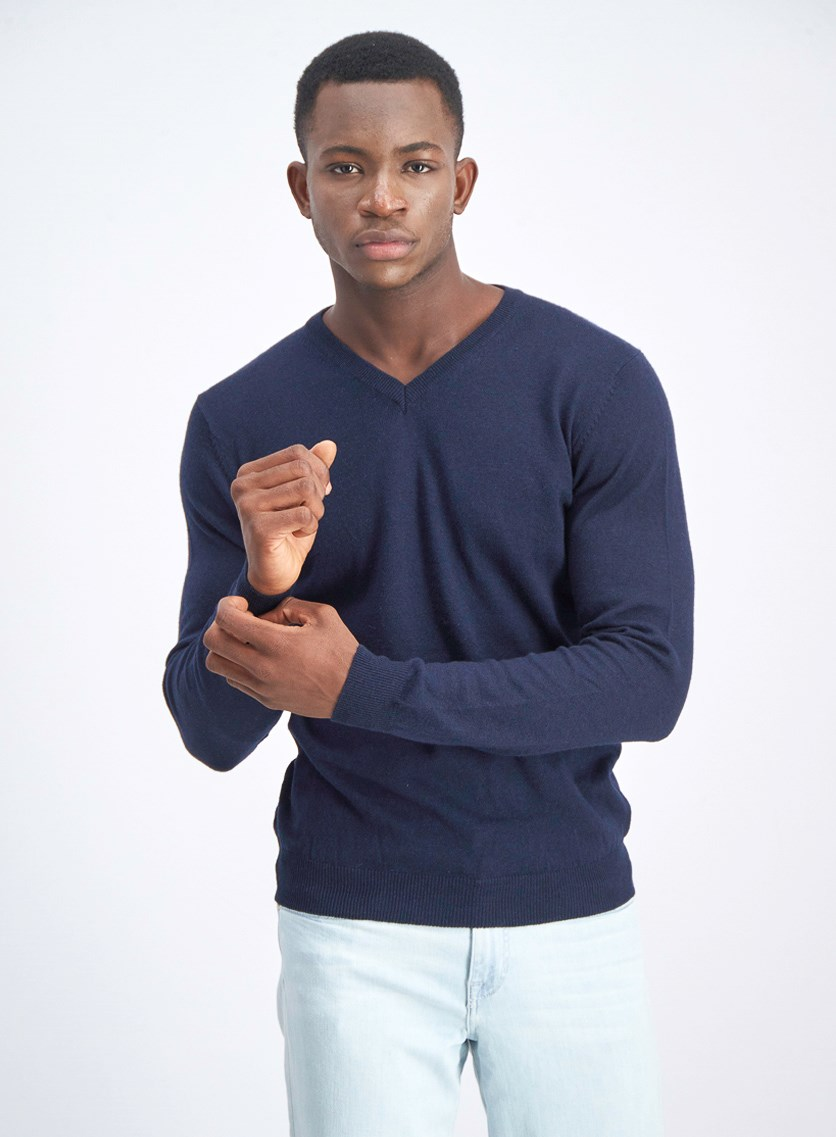 Men's Knitted Long Sleeves Sweater, Dark Blue