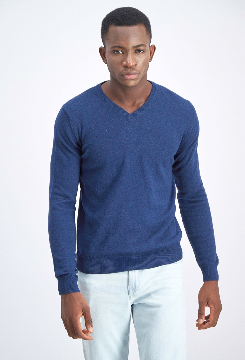 Men's V-Neck Knitted Sweater, Indigo