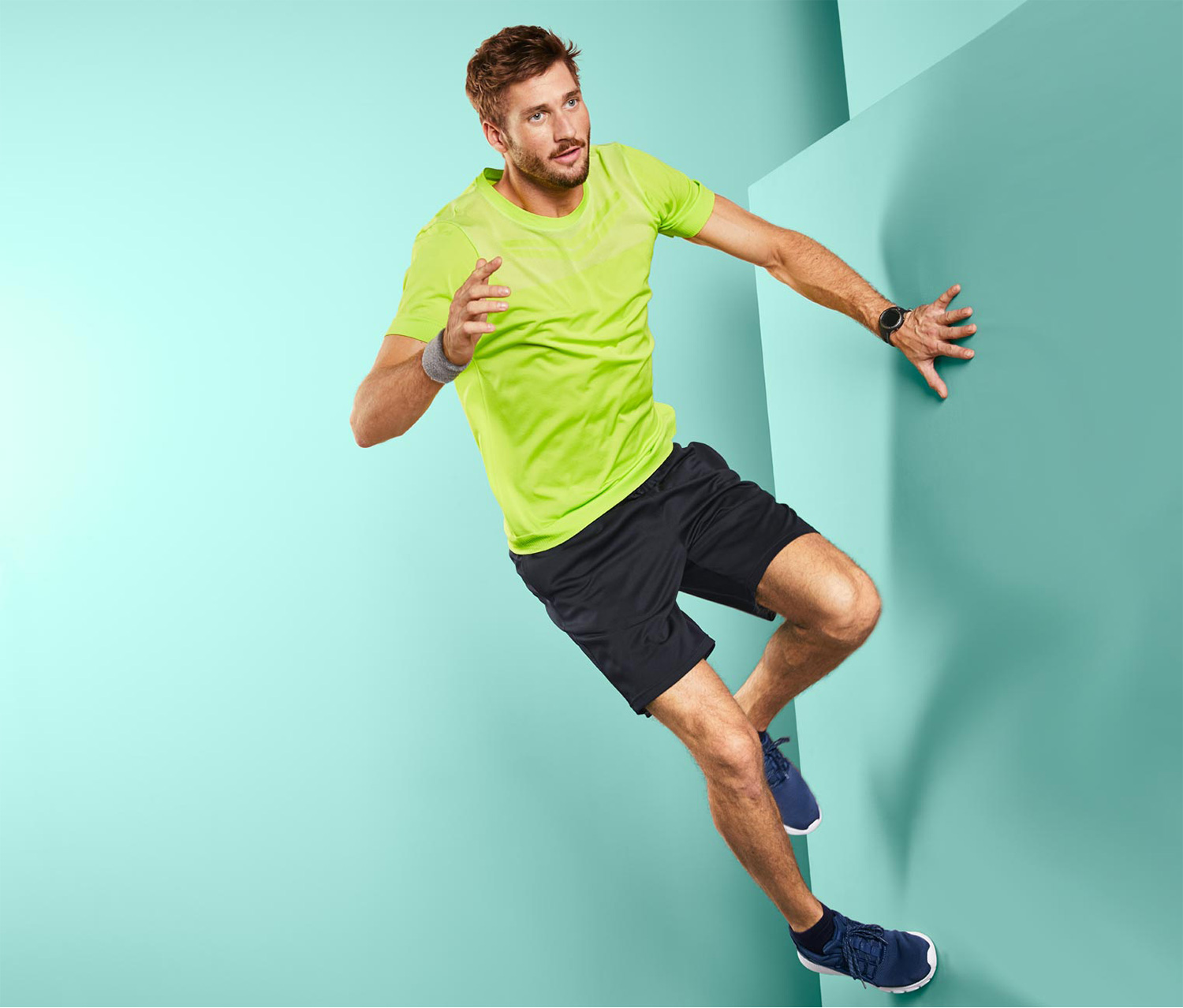 Men's Dry Active Seamless Shirt, Lime Green