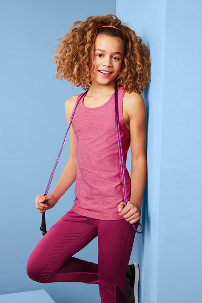 Girls' Breathable Sports Tops 2 Pieces, Pink/Grey