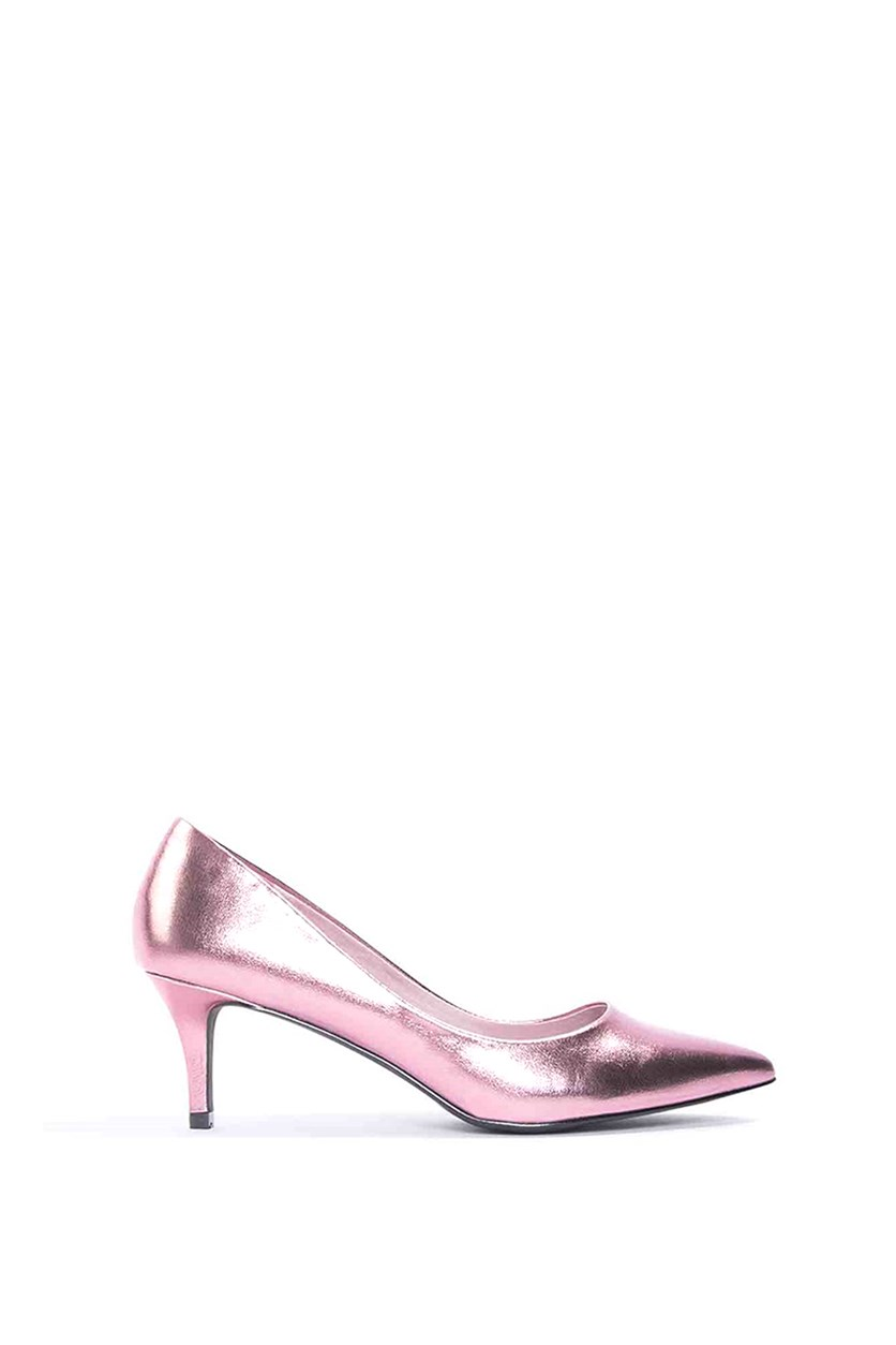Women's Metallic Mid Heel Pumps, Pink