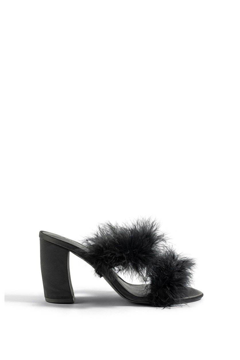 Women's Feather Heel Mule Sandals, Black