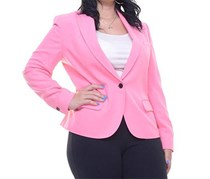 Anne Klein Women's One Button Crepe Blazer, Pink
