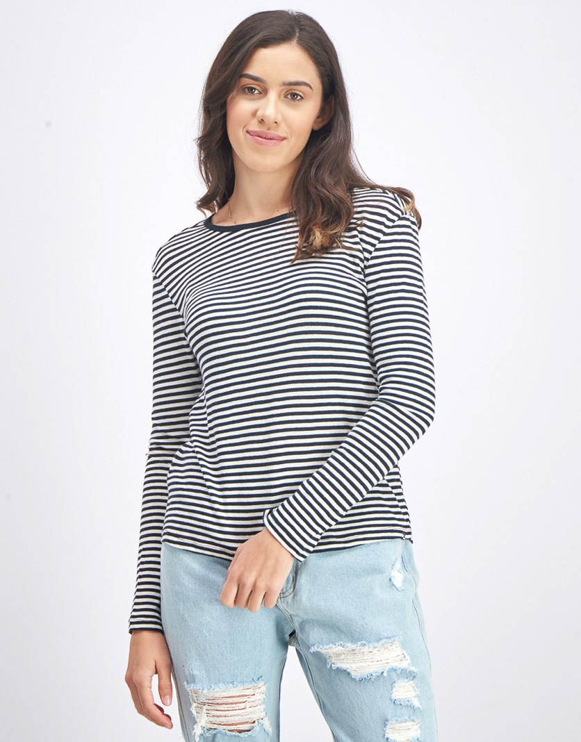 Women's Manlands Stripe Long Sleeve, Black