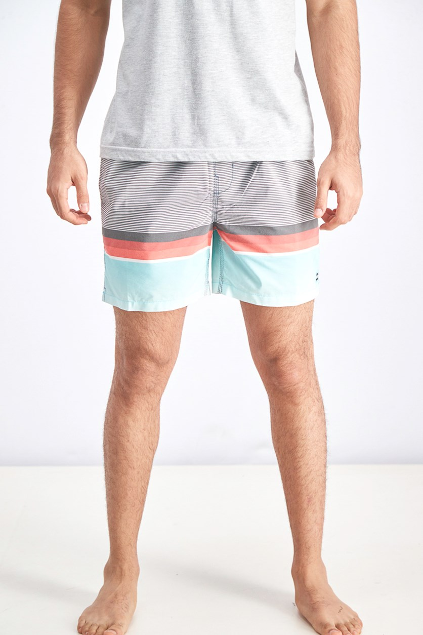 Men's Spinner Layback Boardshorts, Charcoal/Turquoise Combo
