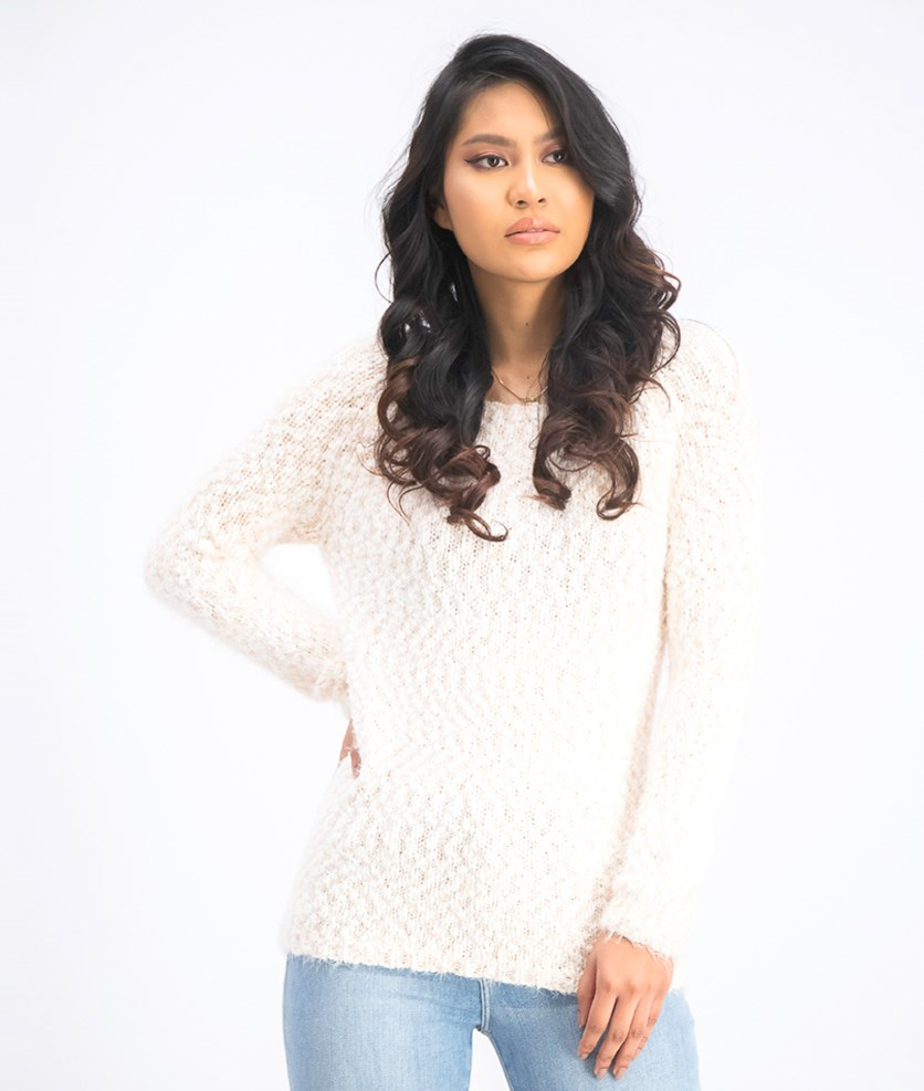 Women's Textured Long Sleeve Sweater, Peach