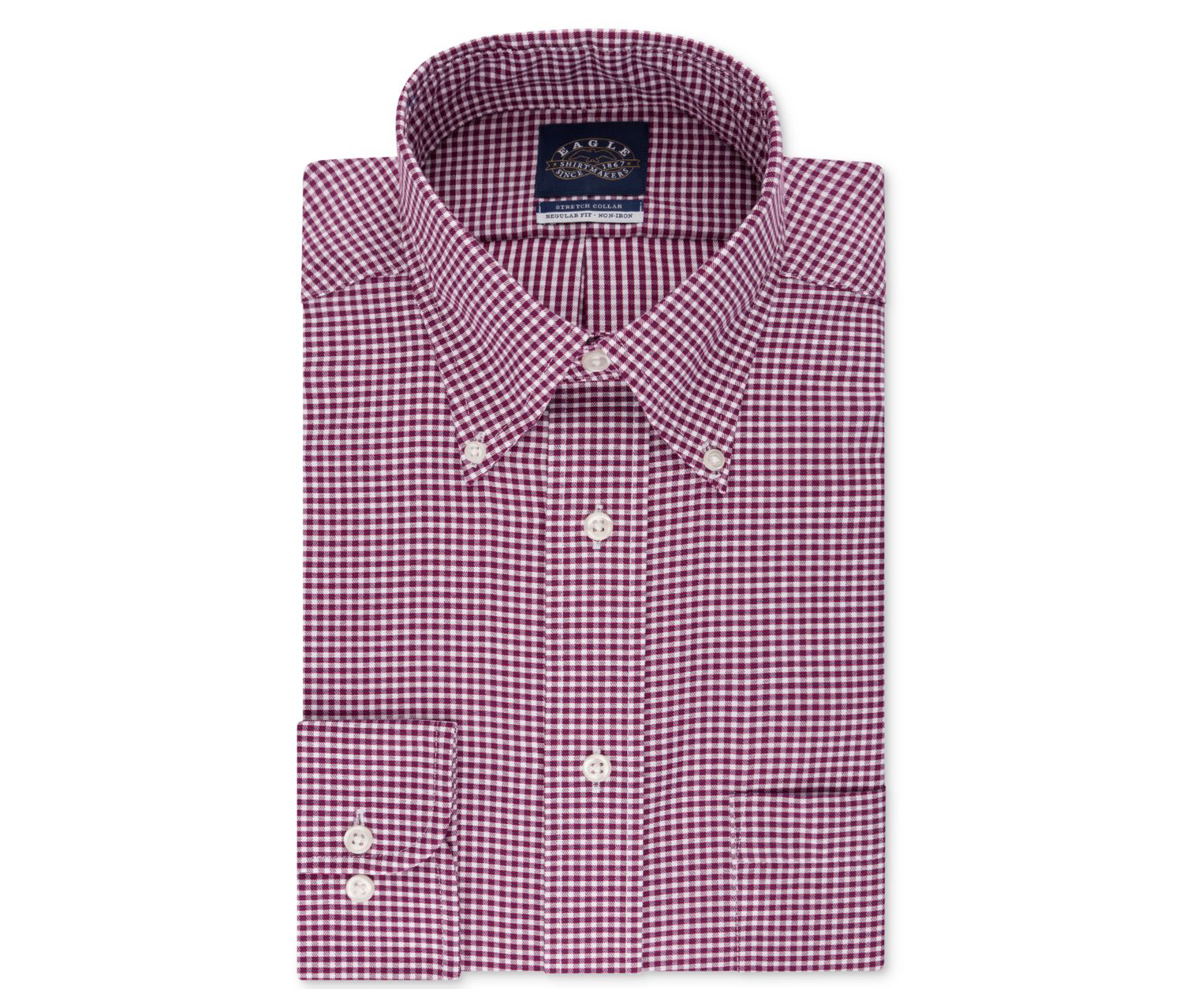 Men's Classic/Regular-Fit Non-Iron Dress Shirt, Burgundy