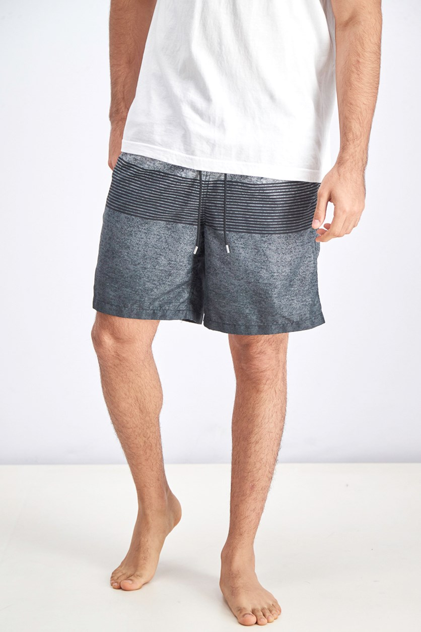 Men's Swim Shorts, Grey/Black/Silver