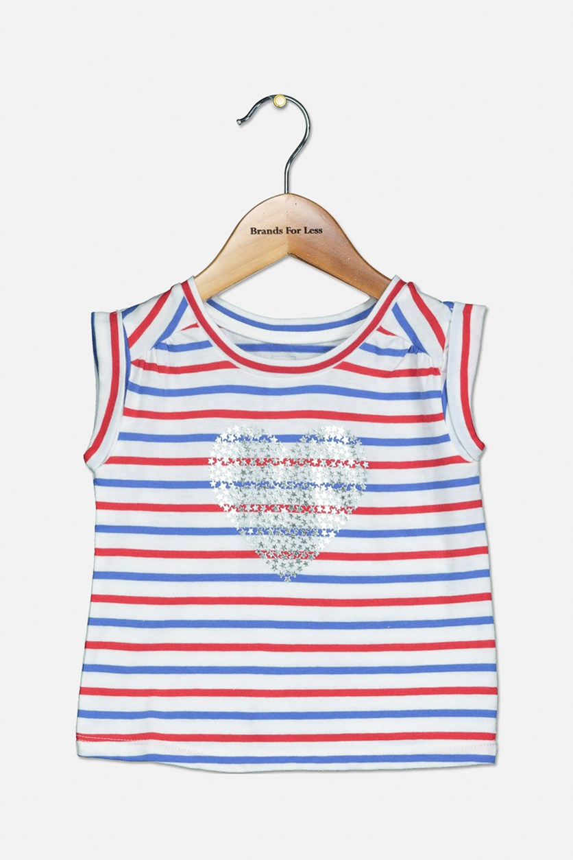 Baby Girl's Stripe Mettalic Print Shirt, White/Blue/Red