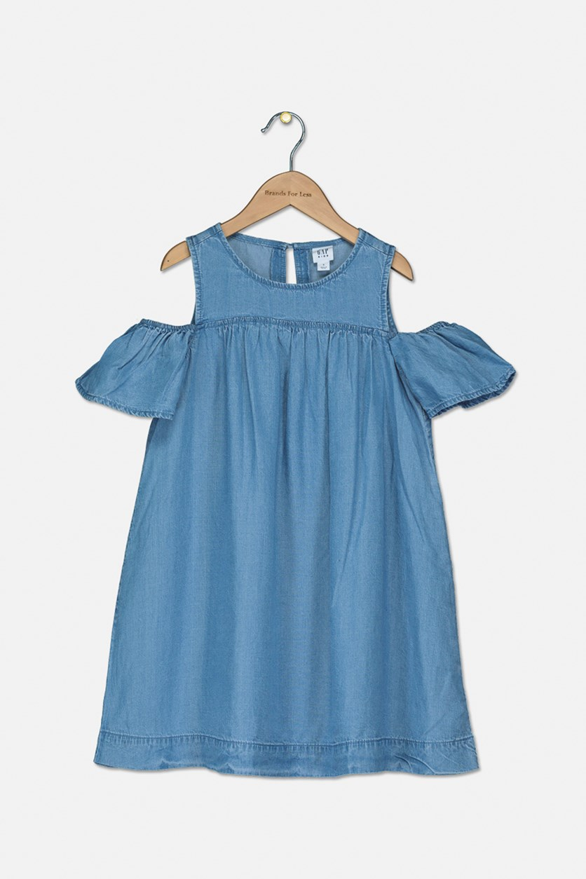 Kids Girl's Cold Shoulder Denim Dress, Blue