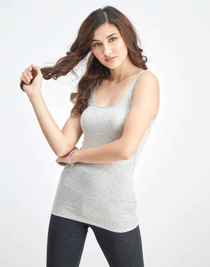Women's Basic Plain Tank Top, Light Grey