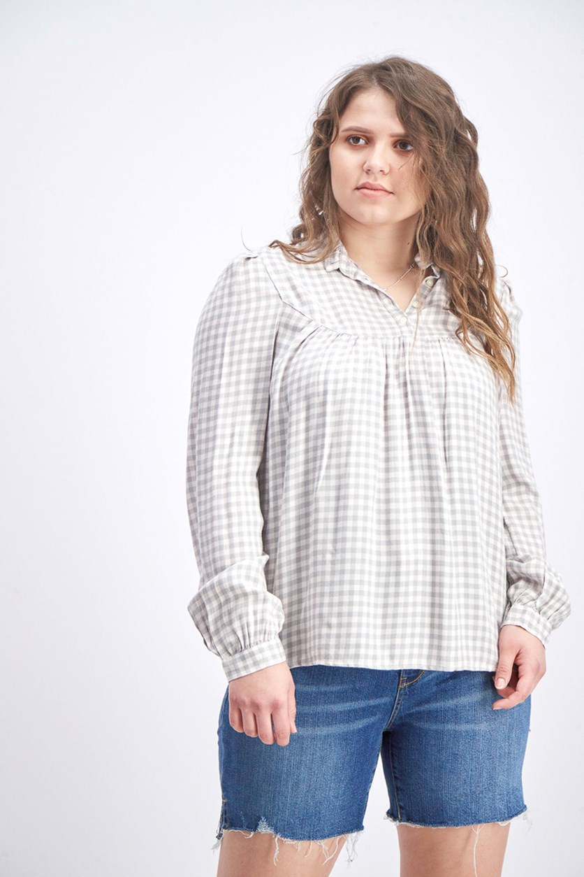 Women's Gingham Blouse, Pink/Grey