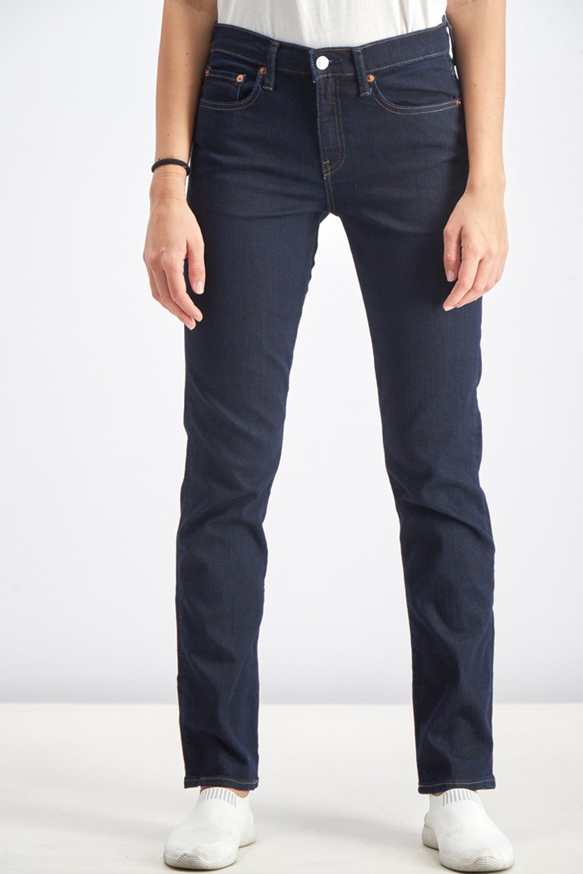 Women's Classic Straight Jeans, Navy Blue