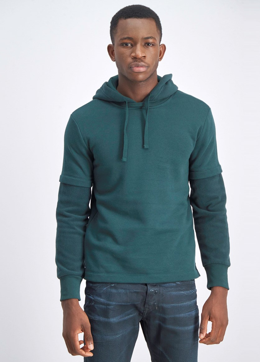 Men's Long Sleeve Hooded Sweaters, Green