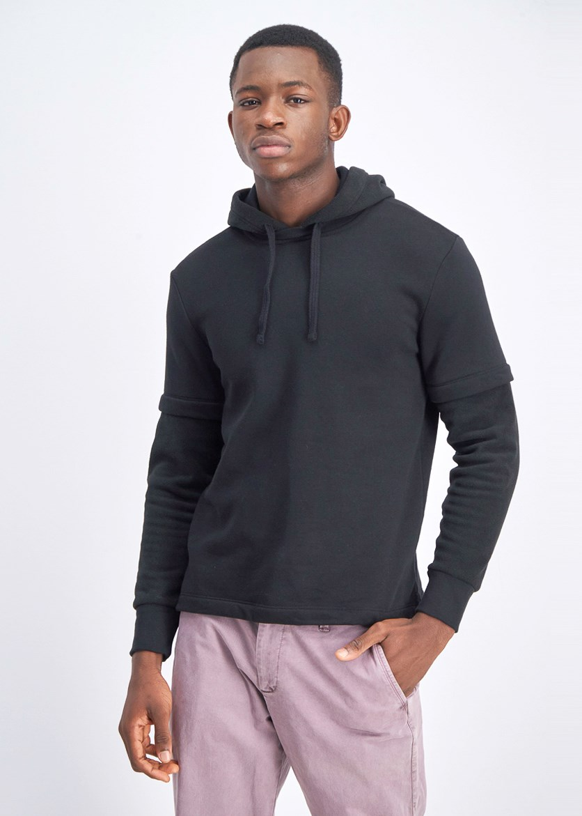 Men's Long Sleeve Hooded Sweaters, Black