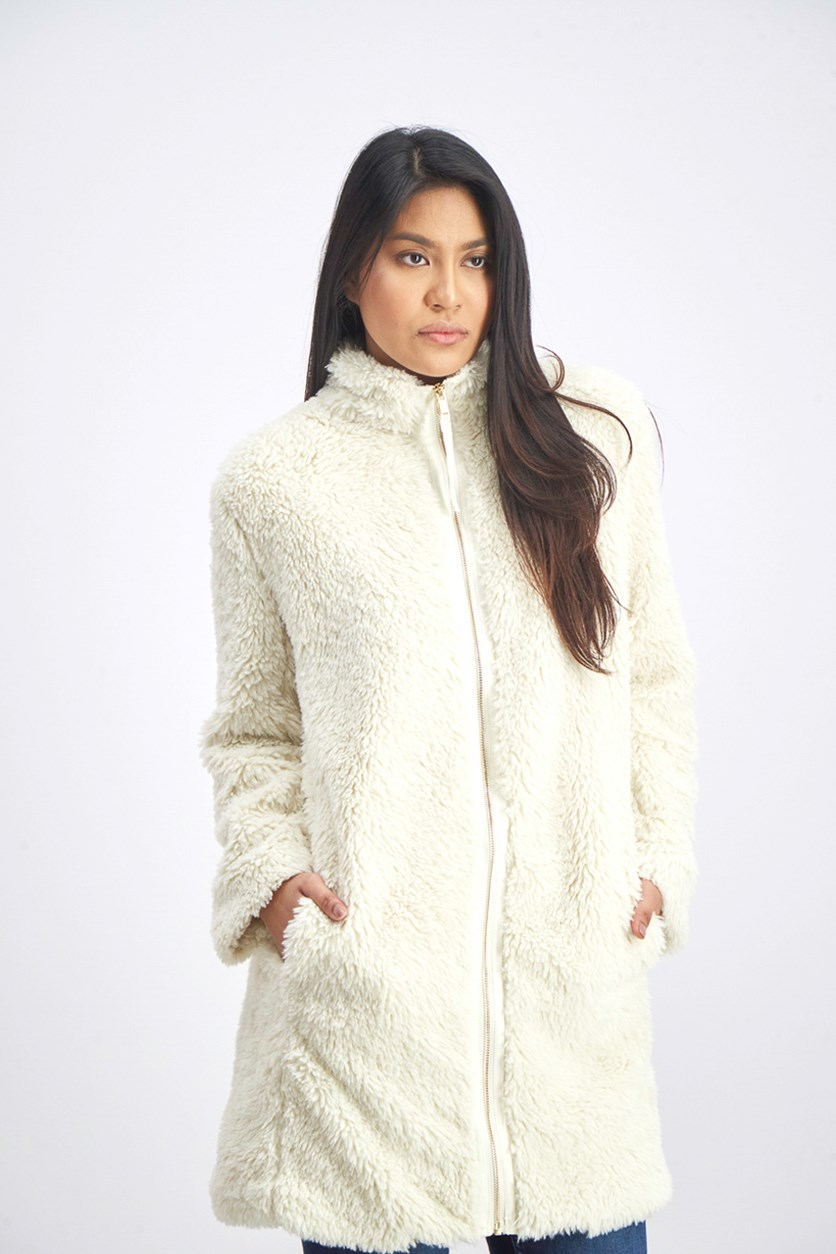 Women's Textured Coat, Ivory