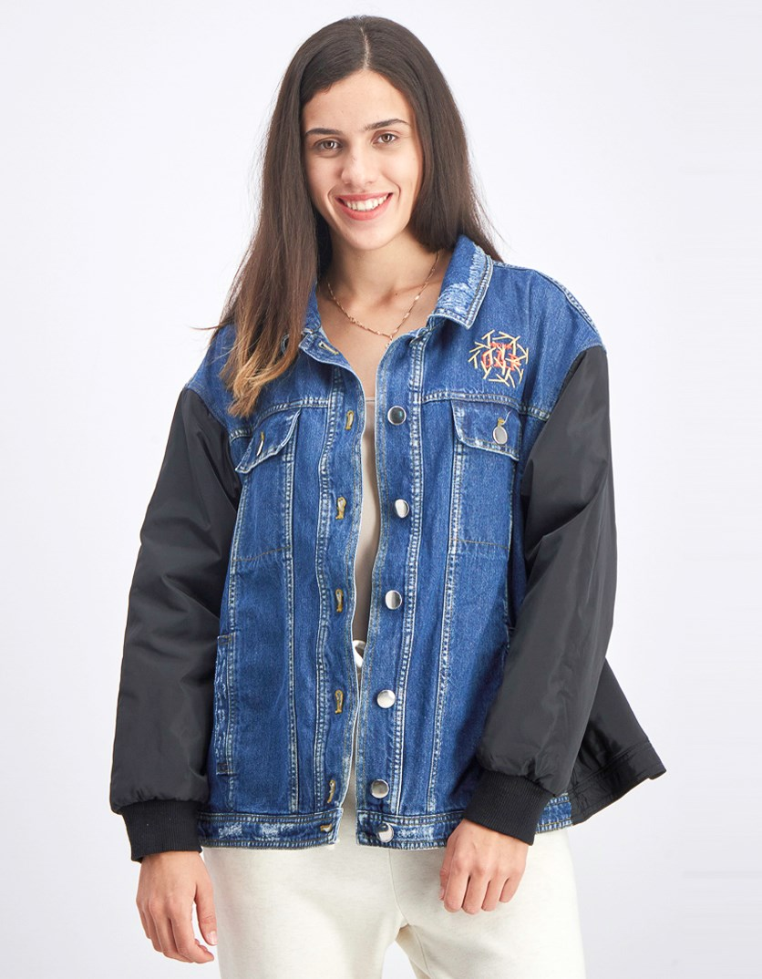 Women's Embroidered Jacket, Blue/Black