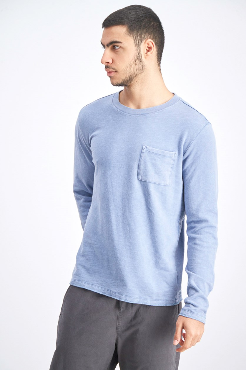 Men's Long Sleeve Front Pocket Sweatshirt, Light Blue