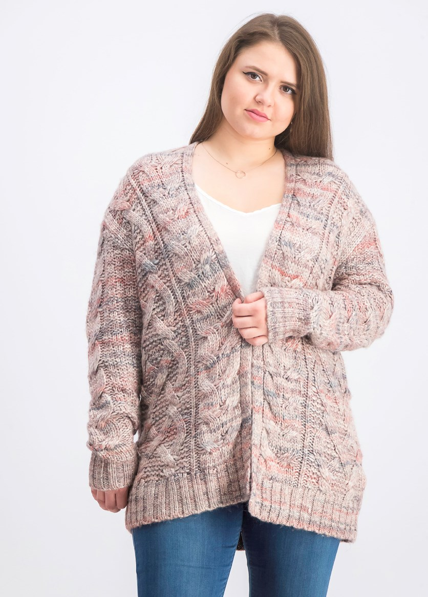 Women's Open Front Cardigan, Red Combo