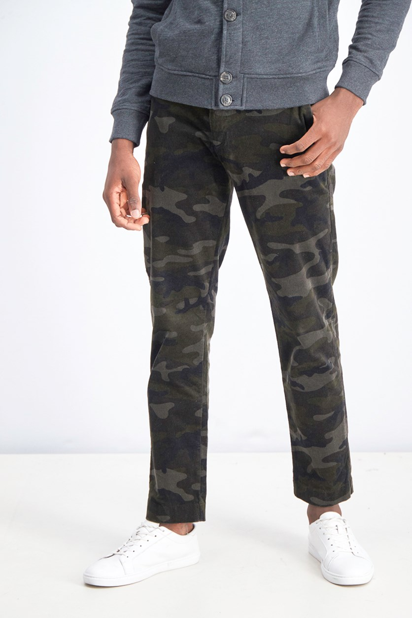 Men's Slim Clean Camouflage Pants, Olive