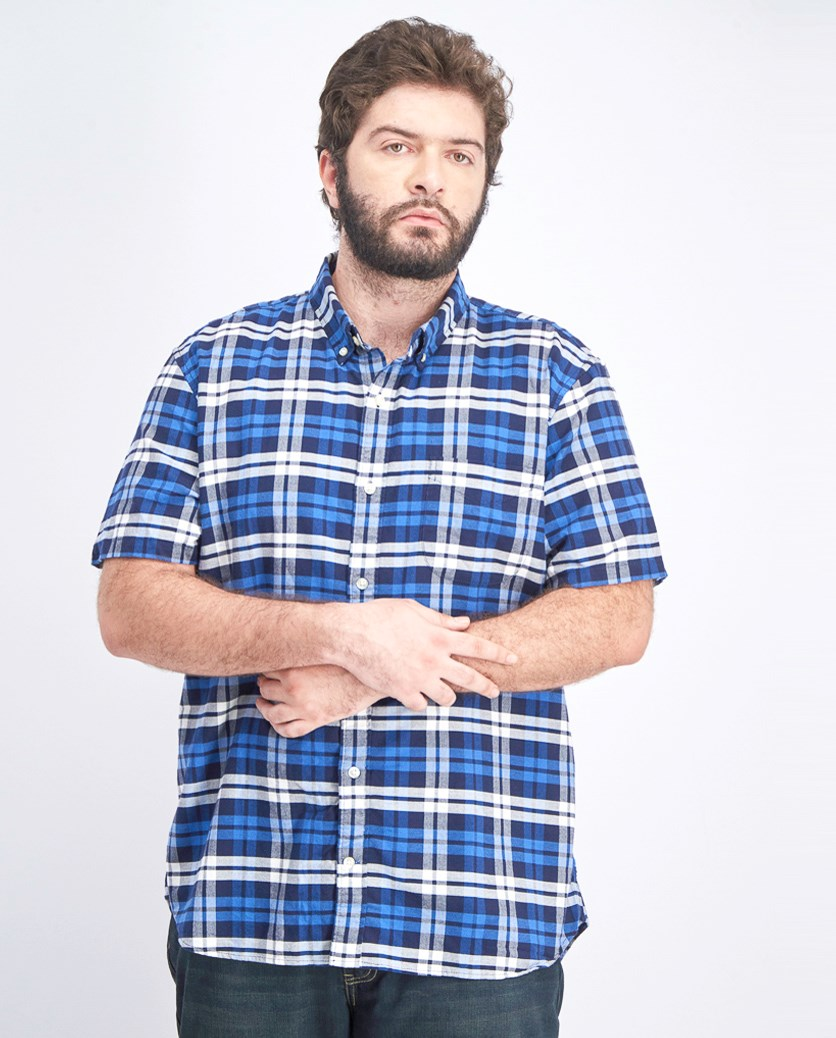 Men's Checkered Shirt, Blue