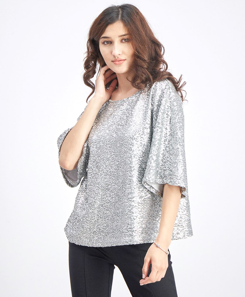 Women's Sequin Top, Silver