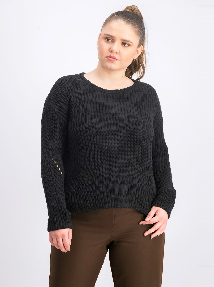 Women's Cotton Long Sleeve Sweater, Black