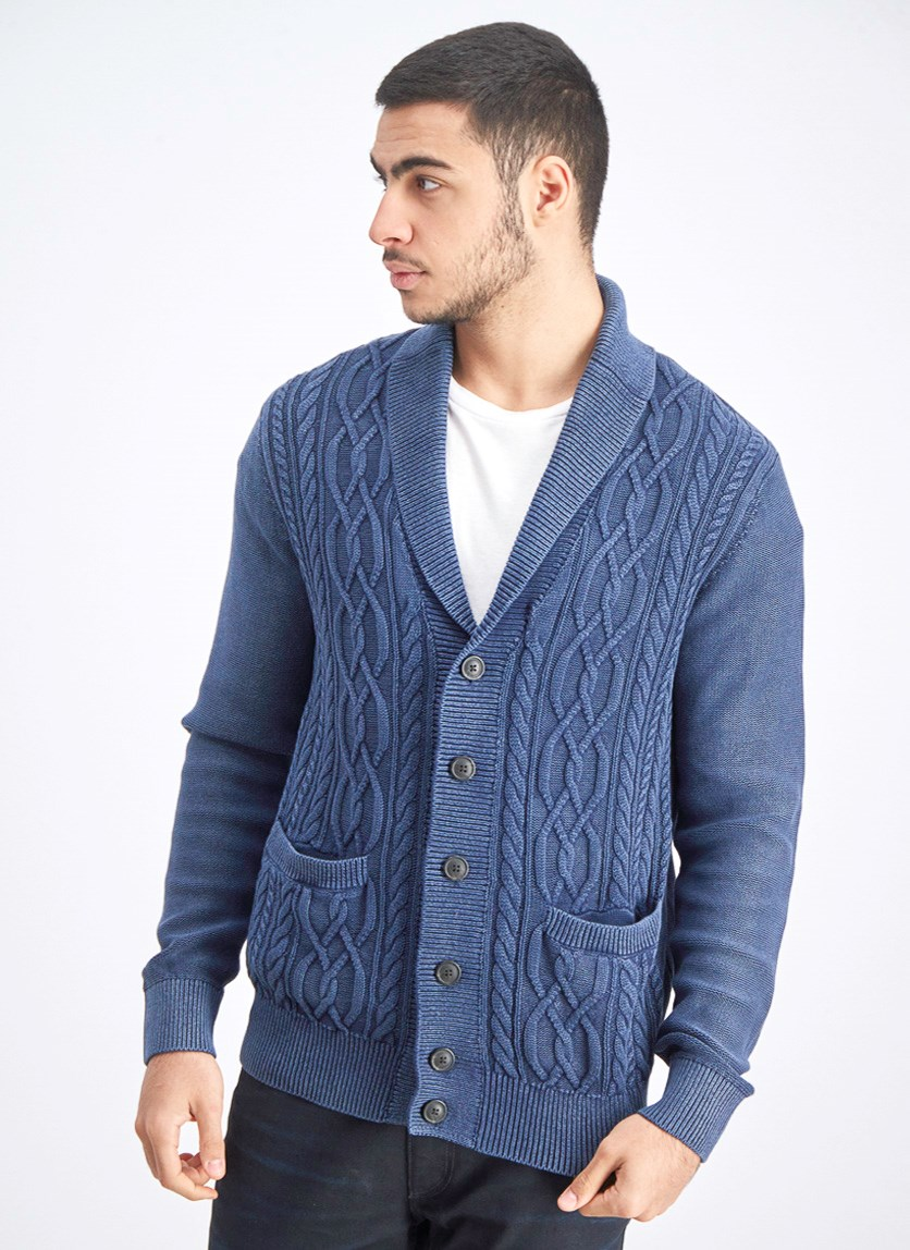Men's Full Button Cardigan, Navy