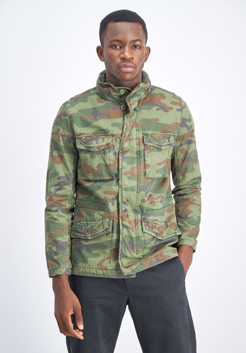 Men's Camouflage Print Fatique Jacket, Olive/Brown