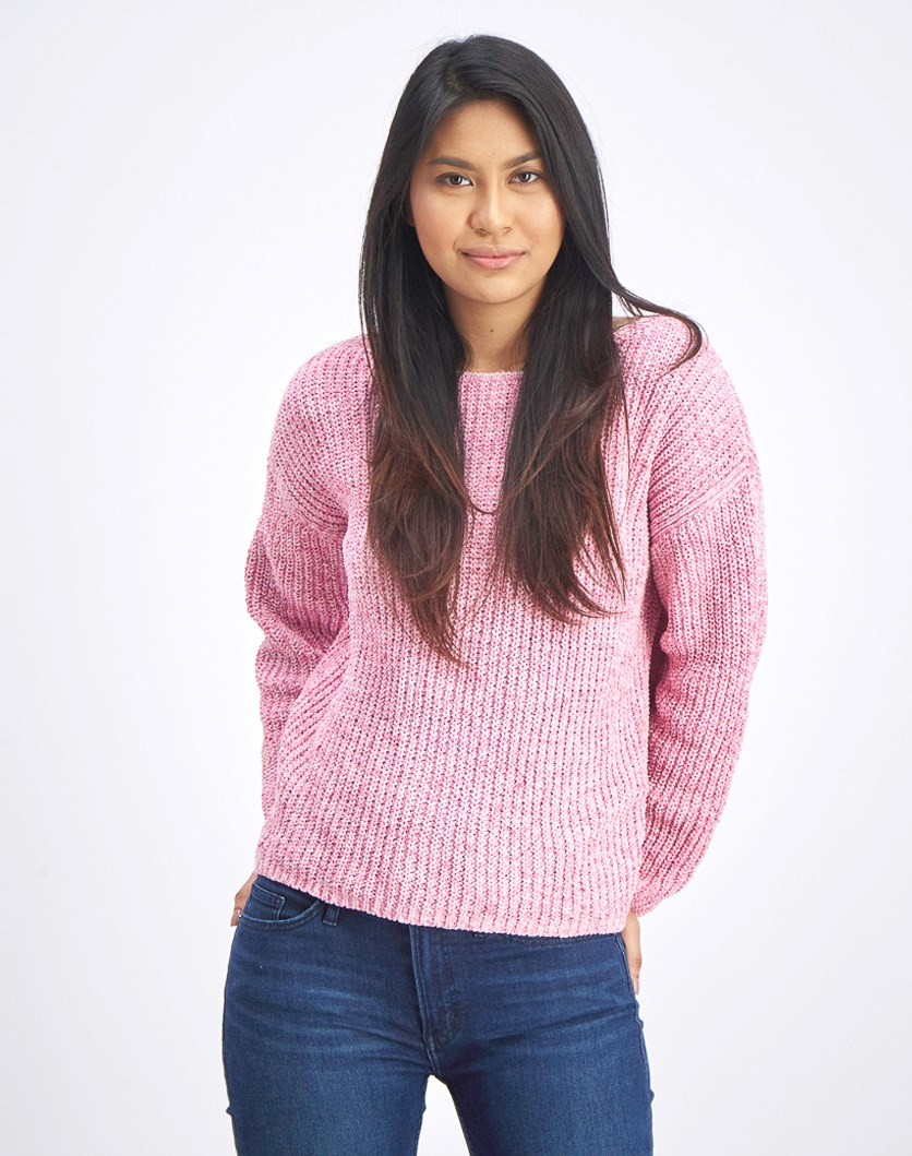 Women's Textured Knit Sweater, Pink