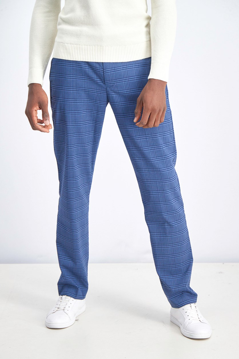 Men's Skinny Plaid Pants, Blue