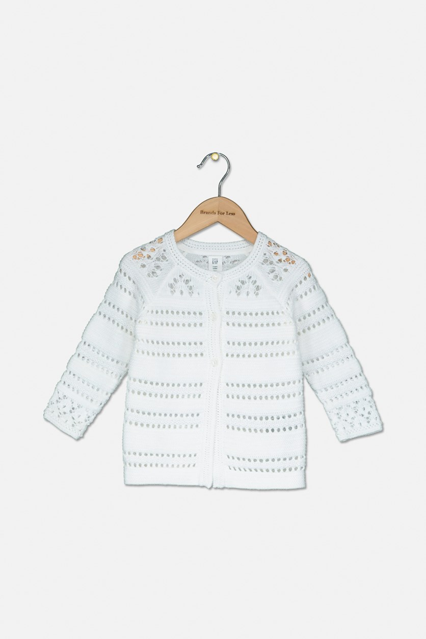 Little Girls Button Down Cardigan, White