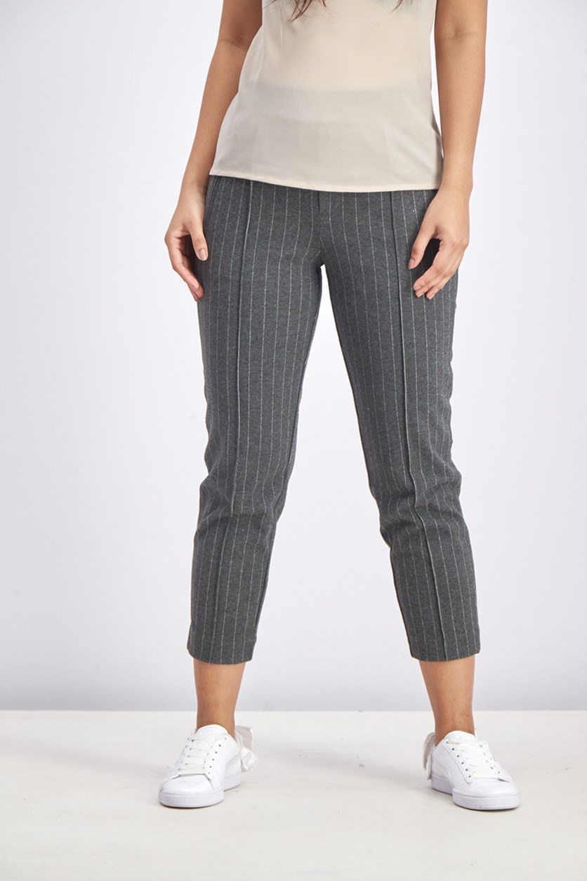 Women's Stripe Pants, Grey/White