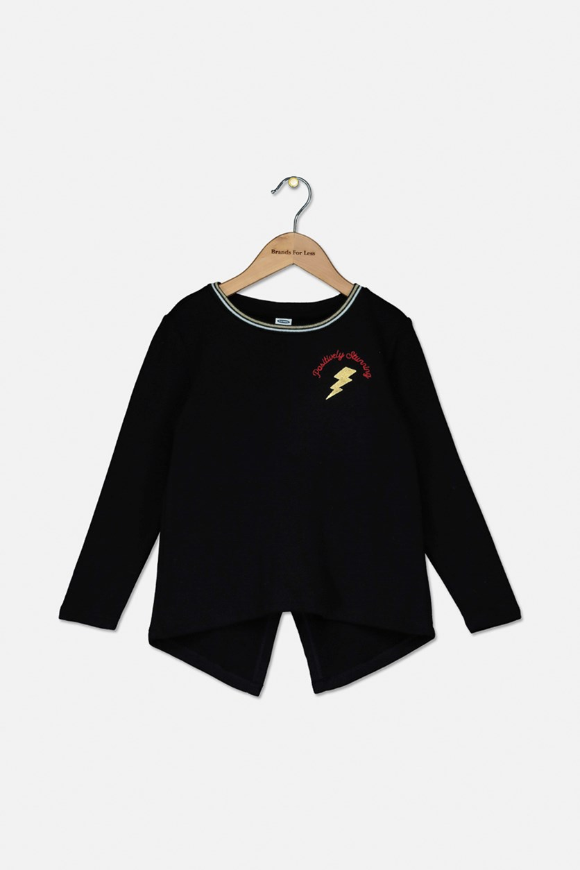 Kids Girls Vented-Back Sweatshirt, Black
