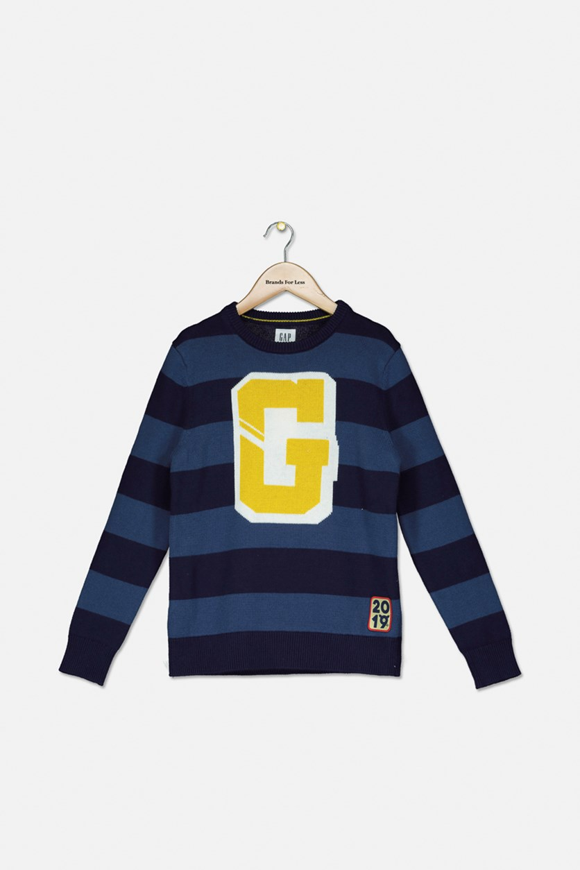 Boys Big Stripe And Textured Pattern Sweatshirt, Navy Blue
