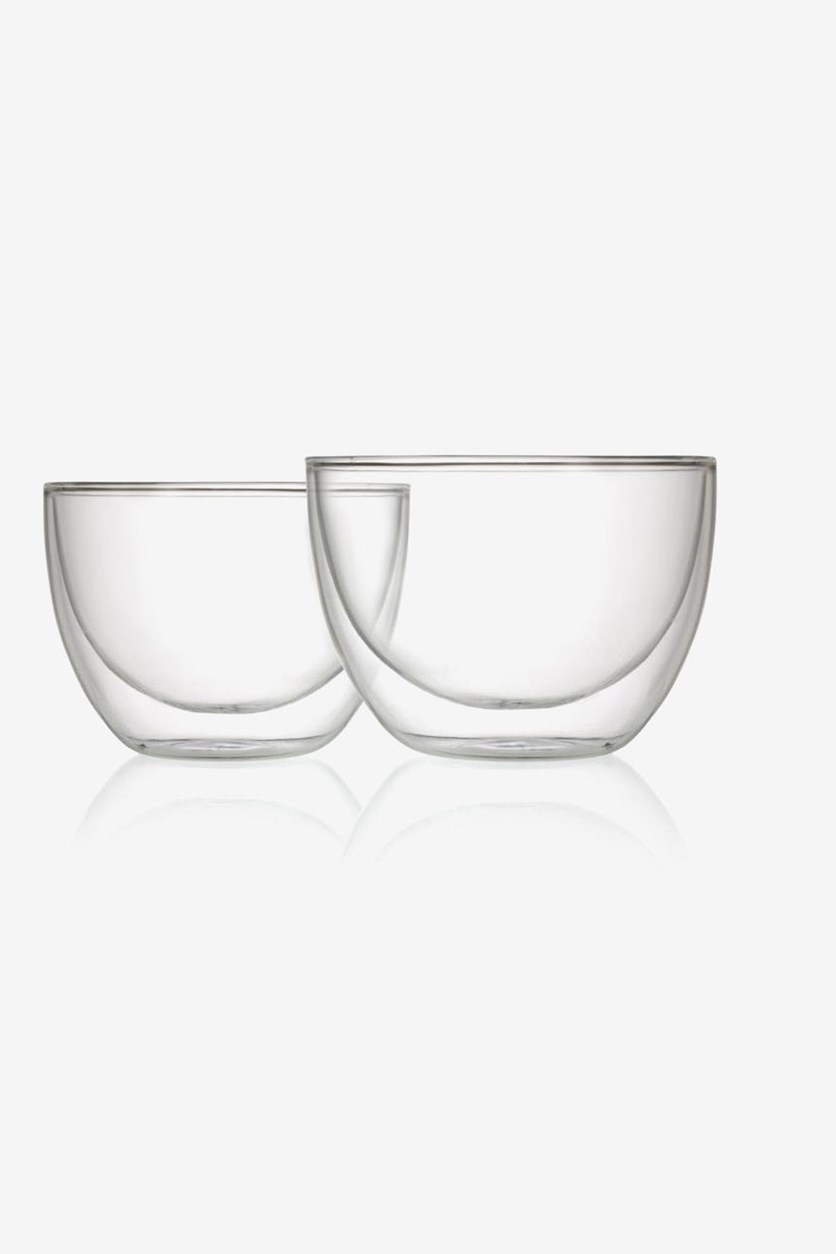 2 Pieces Double Wall Bowl, Clear