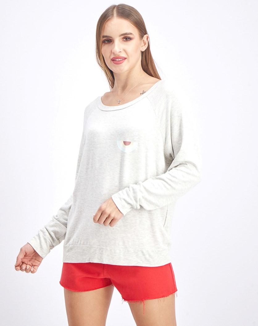 Women's Graphic Sweater, Heather Gray/Ivory