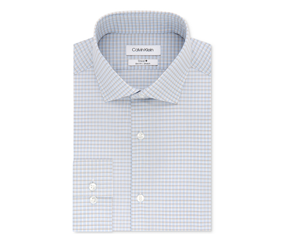 Men's Checkered Button Up Dress Shirt, Blue