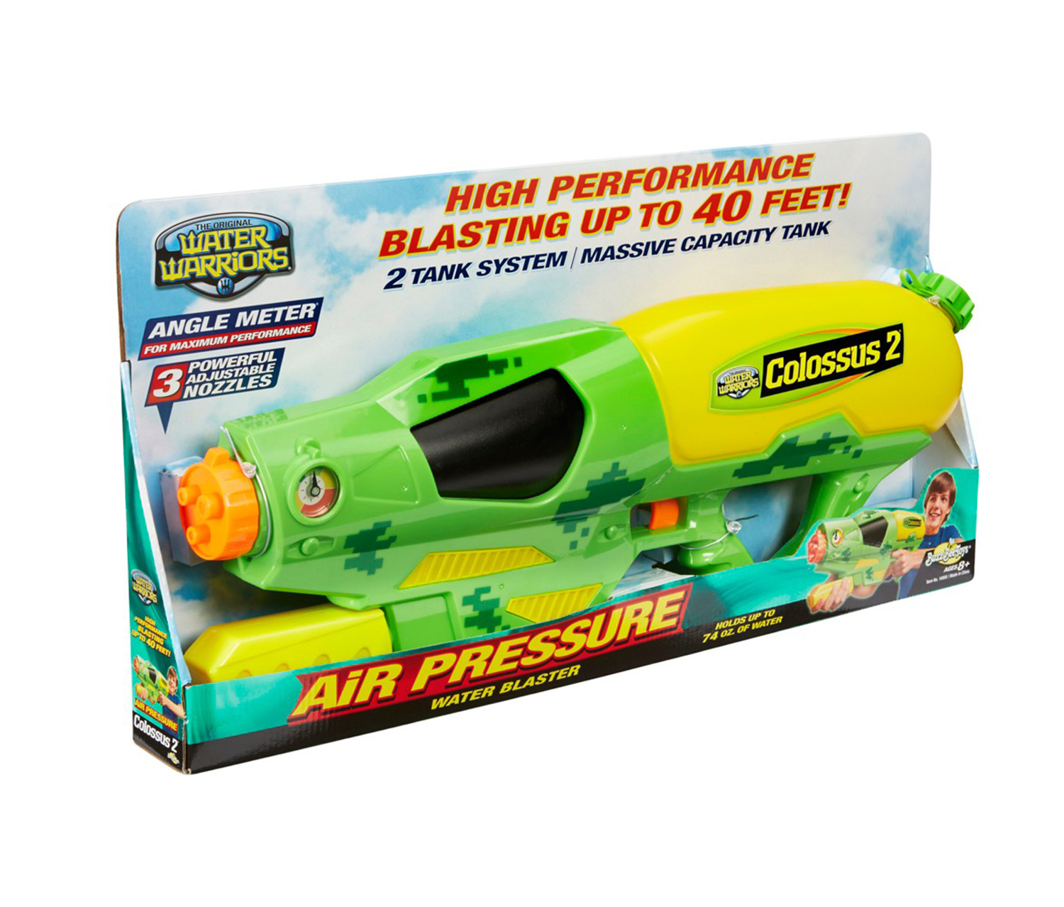 Water Warriors  Colossus 2 Air Pressure Water Blaster, Lime Green