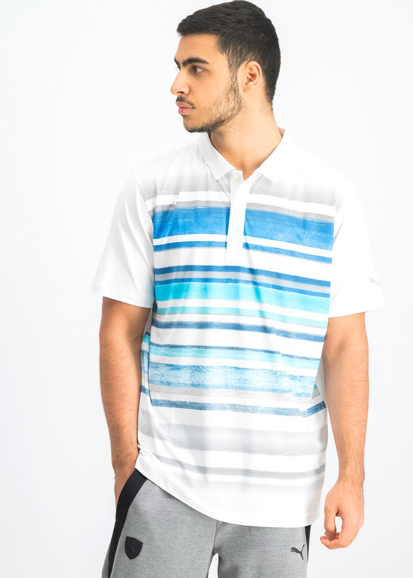 Men's Washed Striped Polo Shirt, White